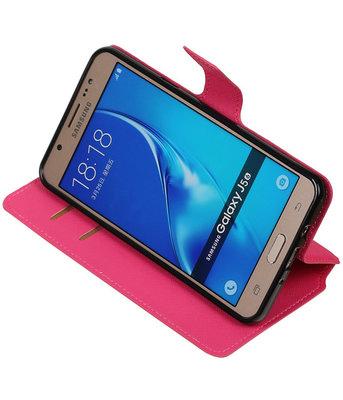 Roze Hoesje voor Samsung Galaxy J5 2016 TPU wallet case booktype HM Book