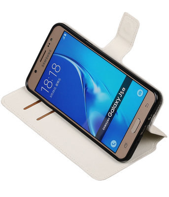Wit Hoesje voor Samsung Galaxy J5 2016 TPU wallet case booktype HM Book