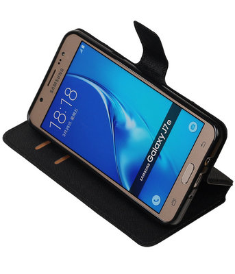 Zwart Hoesje voor Samsung Galaxy J7 2016 TPU wallet case booktype HM Book