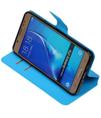 Blauw Hoesje voor Samsung Galaxy J7 2016 TPU wallet case booktype HM Book