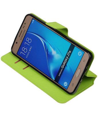 Groen Hoesje voor Samsung Galaxy J7 2016 TPU wallet case booktype HM Book