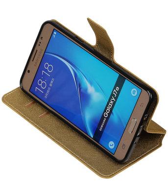 Goud Hoesje voor Samsung Galaxy J7 2016 TPU wallet case booktype HM Book