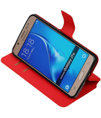 Rood Samsung Galaxy J7 2016 TPU wallet case booktype hoesje HM Book