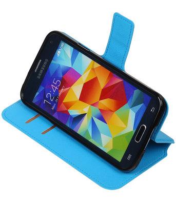 Blauw Hoesje voor Samsung Galaxy S5 TPU wallet case booktype HM Book