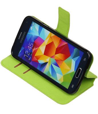 Groen Hoesje voor Samsung Galaxy S5 TPU wallet case booktype HM Book