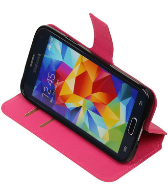 Roze Samsung Galaxy S5 TPU wallet case booktype hoesje HM Book