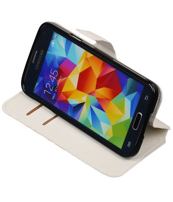 Wit Hoesje voor Samsung Galaxy S5 TPU wallet case booktype HM Book