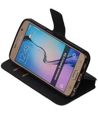 Zwart Hoesje voor Samsung Galaxy S6 TPU wallet case booktype HM Book