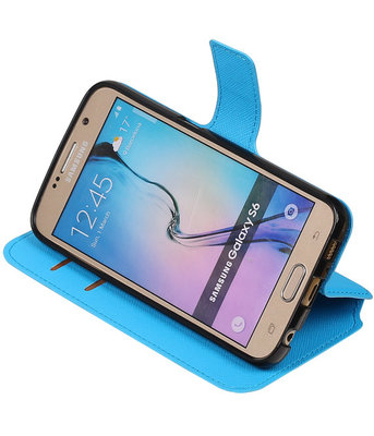 Blauw Samsung Galaxy S6 TPU wallet case booktype hoesje HM Book