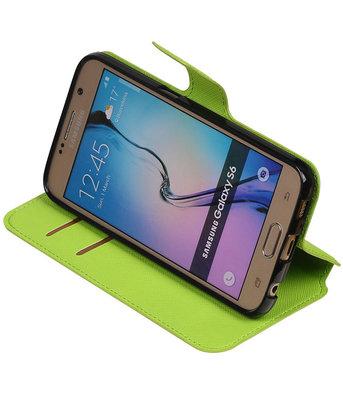Groen Hoesje voor Samsung Galaxy S6 TPU wallet case booktype HM Book