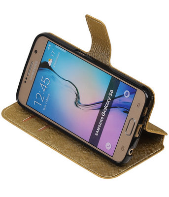 Goud Samsung Galaxy S6 TPU wallet case booktype hoesje HM Book