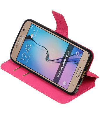 Roze Hoesje voor Samsung Galaxy S6 TPU wallet case booktype HM Book