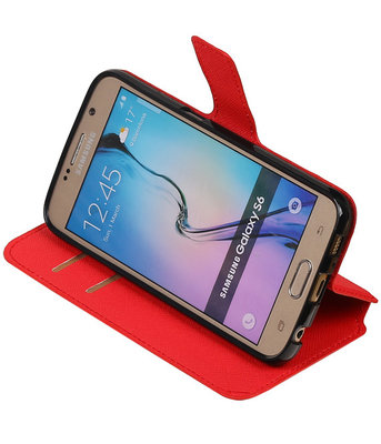 Rood Hoesje voor Samsung Galaxy S6 TPU wallet case booktype HM Book