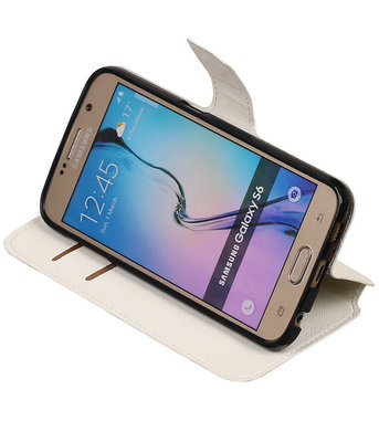 Wit Hoesje voor Samsung Galaxy S6 TPU wallet case booktype HM Book