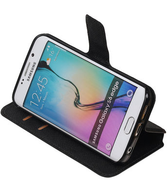 Zwart Hoesje voor Samsung Galaxy S6 Edge TPU wallet case booktype HM Book