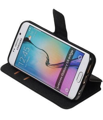 Zwart Samsung Galaxy S6 Edge TPU wallet case booktype hoesje HM Book