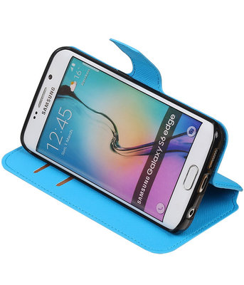 Blauw Hoesje voor Samsung Galaxy S6 Edge TPU wallet case booktype HM Book