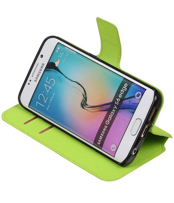 Groen Hoesje voor Samsung Galaxy S6 Edge TPU wallet case booktype HM Book