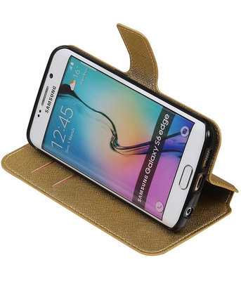 Goud Hoesje voor Samsung Galaxy S6 Edge TPU wallet case booktype HM Book