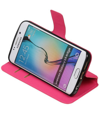 Roze Hoesje voor Samsung Galaxy S6 Edge TPU wallet case booktype HM Book