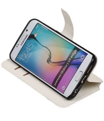 Wit Hoesje voor Samsung Galaxy S6 Edge TPU wallet case booktype HM Book