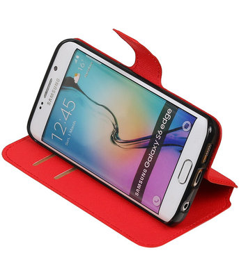 Rood Hoesje voor Samsung Galaxy S6 Edge TPU wallet case booktype HM Book