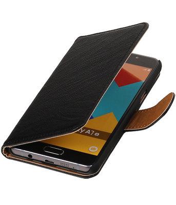 Zwart Echt Leer Leder booktype wallet cover voor Hoesje voor Samsung Galaxy A7 2016