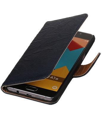 Donker Blauw Echt Leer Leder booktype wallet voor Hoesje voor Samsung Galaxy A7 2016