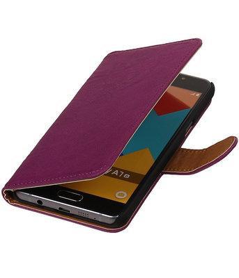 Paars Echt Leer Leder booktype wallet cover voor Hoesje voor Samsung Galaxy A7 2016