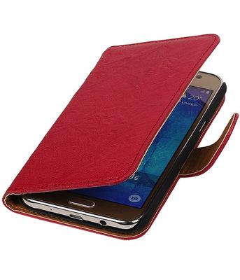 Roze Echt Leer Booktype Hoesje voor Samsung Galaxy J5 2015 Wallet Cover
