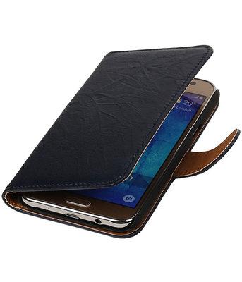 Donker Blauw Echt Leer Leder booktype wallet cover hoesje voor Samsung Galaxy J7 2015