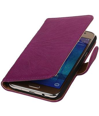 Paars Echt Leer Leder booktype wallet cover hoesje voor Samsung Galaxy J7 2015
