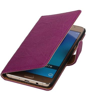 Paars Echt Leer Leder booktype wallet cover voor Hoesje voor Samsung Galaxy J7 2016