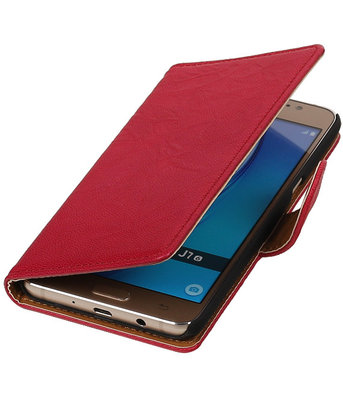 Roze Echt Leer Leder booktype wallet cover voor Hoesje voor Samsung Galaxy J7 2016