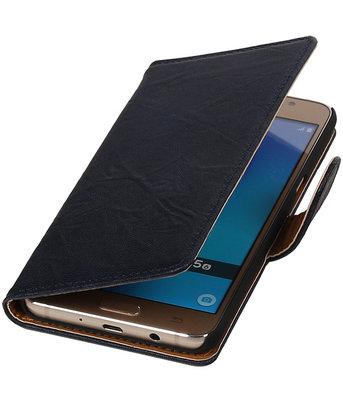 Donker Blauw Echt Leer Leder booktype wallet hoesje voor Samsung Galaxy J5 2016