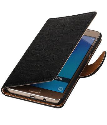 Zwart Echt Leer Leder booktype wallet cover hoesje voor Samsung Galaxy J5 2016