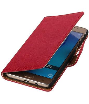 Roze Echt Leer Leder booktype wallet cover hoesje voor Samsung Galaxy J5 2016