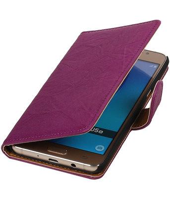 Paars Echt Leer Leder booktype wallet cover hoesje voor Samsung Galaxy J5 2016