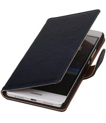Donker Blauw Echt Leer Leder booktype wallet cover hoesje voor Huawei P9 Lite