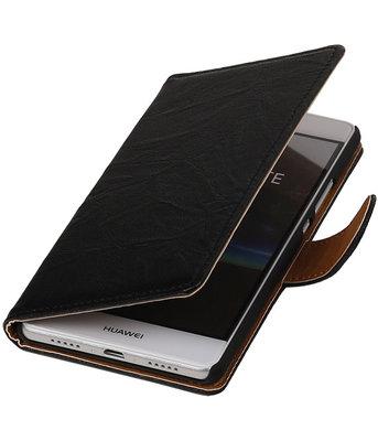 Zwart Echt Leer Leder booktype wallet cover voor Hoesje voor Huawei P9 Lite