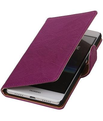 Paars Echt Leer Leder booktype wallet cover hoesje voor Huawei P9 Lite