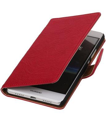 Roze Echt Leer Leder booktype wallet cover hoesje voor Huawei P9 Lite