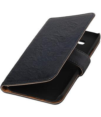 Echt Leer Bookcase Donker Blauw - Hoesje voor Samsung Galaxy E5