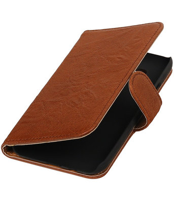 Echt Leer Bookcase Bruin - Samsung Galaxy E5