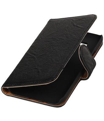 Echt Leer Bookcase Zwart - Samsung Galaxy E5