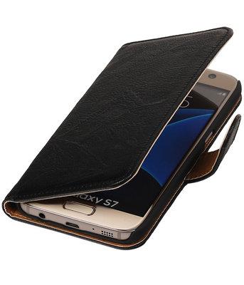 Zwart Echt Leer Leder booktype wallet cover hoesje voor Samsung Galaxy S7