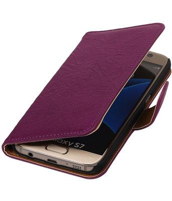 Paars Echt Leer Leder booktype wallet cover hoesje voor Samsung Galaxy S7