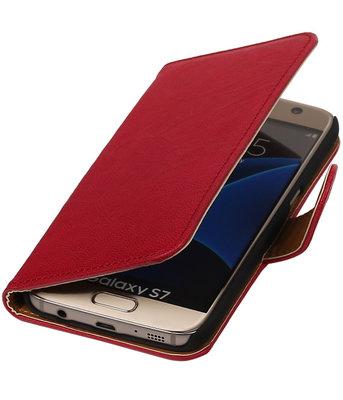 Rozeâ‹ Echt Leer Leder booktype wallet cover voor Hoesje voor Samsung Galaxy S7