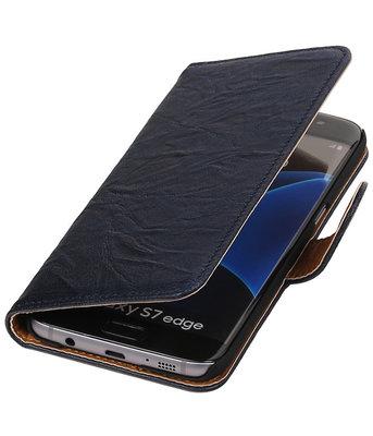 Donker Blauw Echt Leer Leder booktype wallet hoesje voor Samsung Galaxy S7 Edge