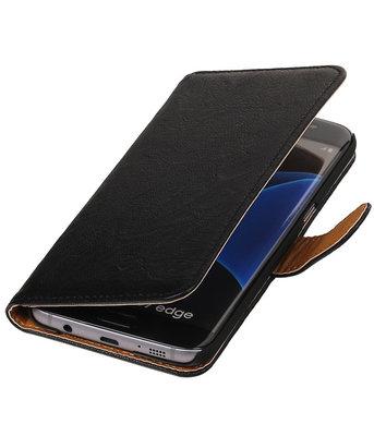 Zwart Echt Leer Leder booktype wallet cover hoesje voor Samsung Galaxy S7 Edge